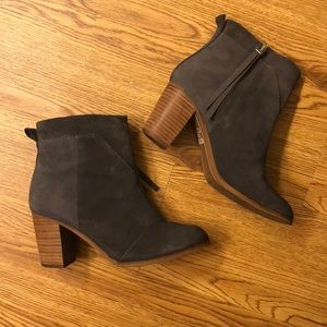 Toms gray suede booties in size 5.5